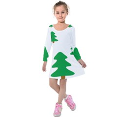 Christmas Tree Holidays Kids  Long Sleeve Velvet Dress