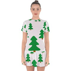 Christmas Tree Holidays Drop Hem Mini Chiffon Dress by Alisyart