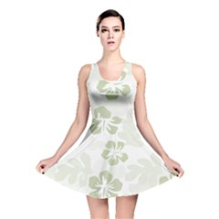 Hibiscus Green Pattern Plant Reversible Skater Dress