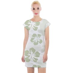 Hibiscus Green Pattern Plant Cap Sleeve Bodycon Dress by Alisyart
