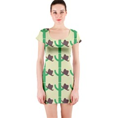 Cowboy Hat Cactus Short Sleeve Bodycon Dress