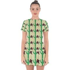 Cowboy Hat Cactus Drop Hem Mini Chiffon Dress
