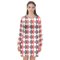 Backdrop Plaid Long Sleeve Chiffon Shift Dress  by Alisyart