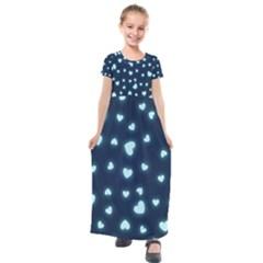 Hearts Background Wallpaper Digital Kids  Short Sleeve Maxi Dress by Alisyart
