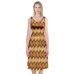 Basket Fibers Basket Texture Braid Midi Sleeveless Dress