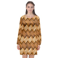 Basket Fibers Basket Texture Braid Long Sleeve Chiffon Shift Dress  by Alisyart