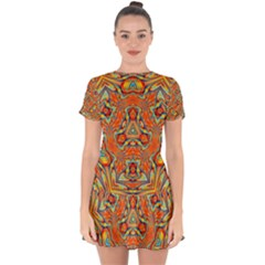 Kaleidoscope Background Mandala Drop Hem Mini Chiffon Dress