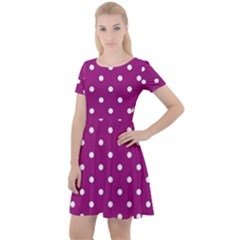 Polka Dots In Purple Cap Sleeve Velour Dress  by WensdaiAddamns