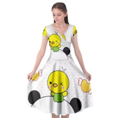 Giant Panda Cartoon Drawing Cap Sleeve Wrap Front Dress by Samandel