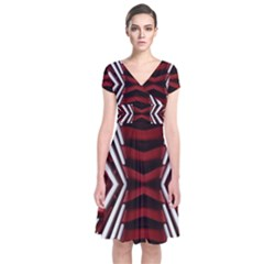 Red & White Stripes  Short Sleeve Front Wrap Dress