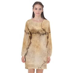 Stone Surface Stone Mass Long Sleeve Chiffon Shift Dress