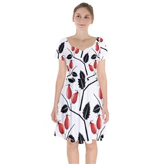 Rose Hip Pattern Branches Autumn Short Sleeve Bardot Dress by Jojostore