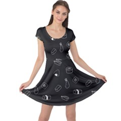 Sushi Pattern Food Cap Sleeve Dress