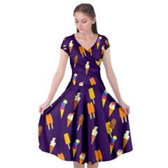 Seamless Ice Cream Cap Sleeve Wrap Front Dress