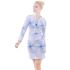 Spirograph Pattern Drawing Button Long Sleeve Dress by Alisyart