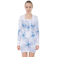 Spirograph Pattern Drawing V Neck Bodycon Long Sleeve Dress by Alisyart