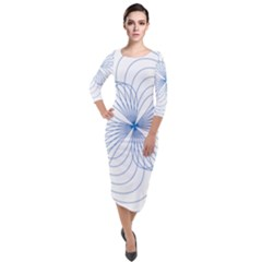 Spirograph Pattern Drawing Quarter Sleeve Midi Velour Bodycon Dress by Alisyart
