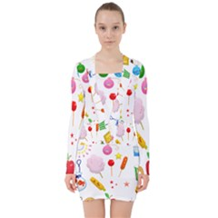 Summer Fair Food Goldfish V Neck Bodycon Long Sleeve Dress by AnjaniArt