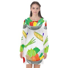 Vegetables Salad Broccoli Corn Long Sleeve Chiffon Shift Dress