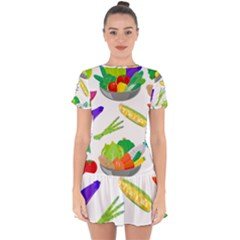 Vegetables Salad Broccoli Corn Drop Hem Mini Chiffon Dress