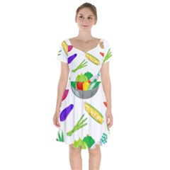 Vegetables Salad Broccoli Corn Short Sleeve Bardot Dress