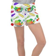 Vegetables Salad Broccoli Corn Women s Velour Lounge Shorts by Jojostore