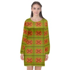 Western Pattern Backdrop Green Long Sleeve Chiffon Shift Dress  by Jojostore