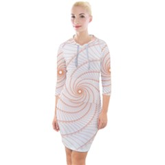 Spirograph Pattern Orange Quarter Sleeve Hood Bodycon Dress