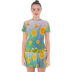 Sunflower Collage Summer Flowers Drop Hem Mini Chiffon Dress by Jojostore