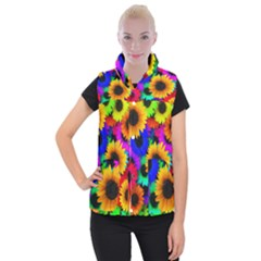 Sunflower Colorful Women s Button Up Vest by Mariart