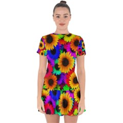 Sunflower Colorful Drop Hem Mini Chiffon Dress