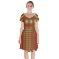 Lumberjack Plaid Buffalo Plaid Green Red Short Sleeve Bardot Dress