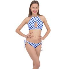 Sunflower Digital Paper Blue Cross Front Halter Bikini Set
