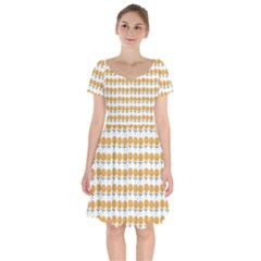 Sunflower Wrap Short Sleeve Bardot Dress by Mariart