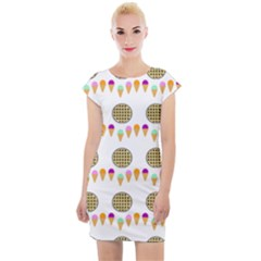 Pizza Ice Cream Party Food Cap Sleeve Bodycon Dress by AnjaniArt