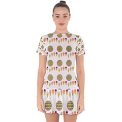 Pizza Ice Cream Party Food Drop Hem Mini Chiffon Dress by AnjaniArt