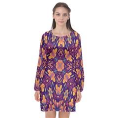 Kaleidoscope Background Design Purple Long Sleeve Chiffon Shift Dress