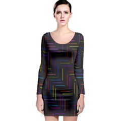Lines Line Background Long Sleeve Bodycon Dress