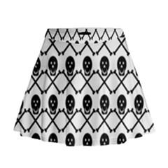 Skull Crossbones Pirate Backdrop Mini Flare Skirt