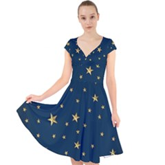 Stars Night Sky Background Space Cap Sleeve Front Wrap Midi Dress by Alisyart