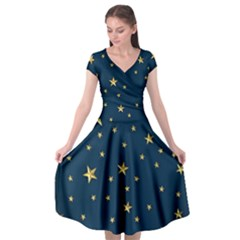 Stars Night Sky Background Space Cap Sleeve Wrap Front Dress