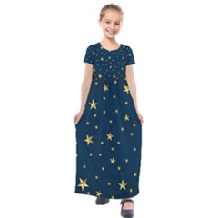 Stars Night Sky Background Space Kids  Short Sleeve Maxi Dress by Alisyart