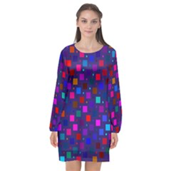 Squares Square Background Abstract Long Sleeve Chiffon Shift Dress