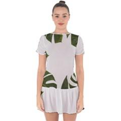Green Leaves Drop Hem Mini Chiffon Dress by goljakoff