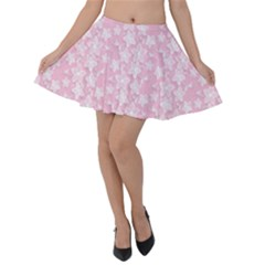 Pink Floral Background Velvet Skater Skirt