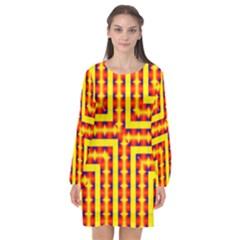 Digital Artwork Abstract Long Sleeve Chiffon Shift Dress  by Mariart