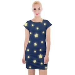 Stars Night Sky Background Cap Sleeve Bodycon Dress