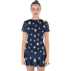 Stars Night Sky Background Drop Hem Mini Chiffon Dress