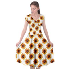 Sunflower Digital Paper Yellow Cap Sleeve Wrap Front Dress by AnjaniArt