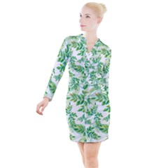 Leaves Green Pattern Nature Plant Button Long Sleeve Dress